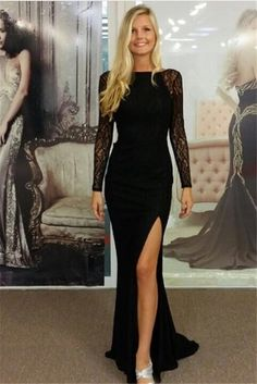 Sexy Black Lace And Beading HIgh Slit Chiffon Long Prom Dress,Custom Made Open Back Evening Gowns2017