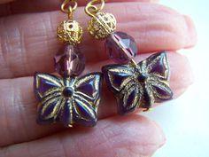 Purple Butterfly Dangle Earrings Doodaba by doodaba on Etsy Purple Earrings, Butterfly Earrings, Dangle Earrings, Vintage Pink, Vintage Ladies, Tote Bags Handmade, Purple Butterfly, Gold Filigree, Gold Accents