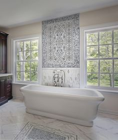"""The """"Prim Solo"""" Mural is elegant and can be featured as a classic backsplash in your bathroom or make a grand kitchen backsplash.  We are able to customize our murals to any size, on any stone type."""
