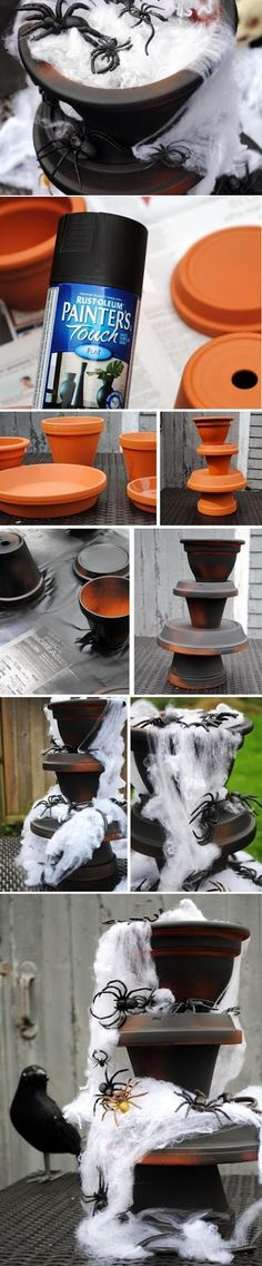 DIY Spider-Filled Fountain ~ Turn your Halloween décor up a notch with this spooky fountain overflowing with spiders, snakes and any other creepy-crawly creatures imaginable! Halloween Veranda, Fete Halloween, Outdoor Halloween, Spooky Halloween, Holidays Halloween, Halloween Crafts, Happy Halloween, Vintage Halloween, Halloween Stuff