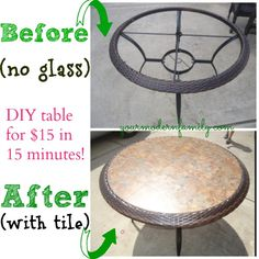 DIY: Replace glass tabletop with tile for $15. (perfect DIY project!! This takes about 15 minutes Weekend Warrior Wednesday @ yourmodernfamily.com