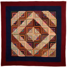 from 1880´s...Barnraising Log Cabin Quilt | From a unique collection of antique and modern quilts at http://www.1stdibs.com/furniture/folk-art/quilts/