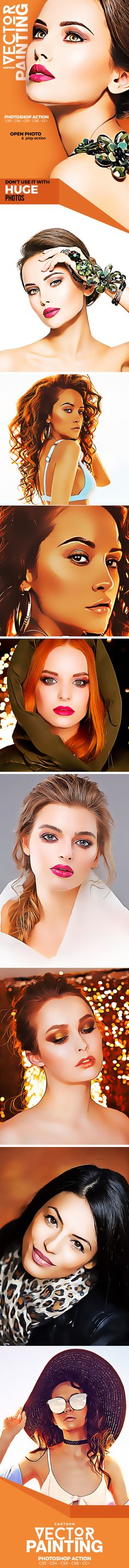 Cartoon Vector Painting Photoshop Action - Photo Effects Actions