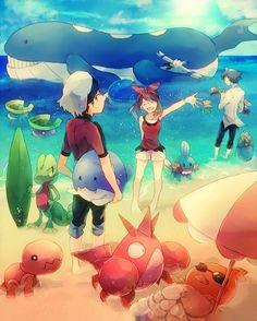 Pokemon Omega Ruby/Alpha Sapphire Brendan and May // I wanna go to the beach with my friends. Pokemon Rosa, Pokemon Mew, Pokemon Fan Art, Pokemon Remake, Pikachu, Pokemon Beach, Pokemon Ships, Lugia, Mudkip