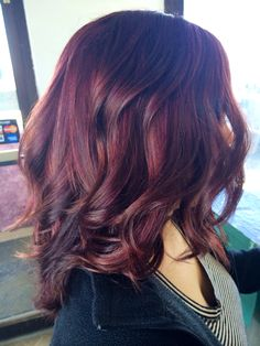 Violet red. Kenra color. Flatiron curls. Violet highlights.