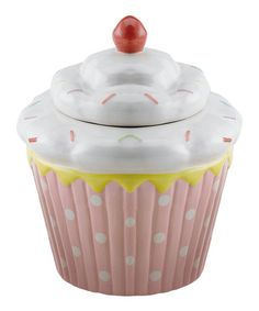 Look what I found on #zulily! White & Pink Cupcake Cookie Jar #zulilyfinds