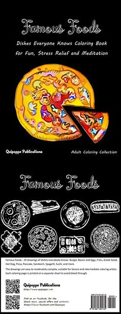 Famous Foods: Dishes Everyone Knows Coloring Book for Fun, Stress Relief and Meditatio