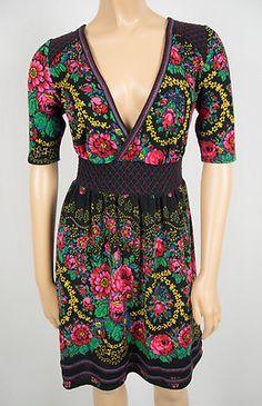 FREE PEOPLE Multi Color Knit Dress M Deep Drop V Neck Floral Smocked Bold Color