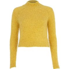River Island Yellow turtle neck fluffy cropped jumper (18 AUD) ❤ liked on Polyvore featuring tops, sweaters, jumpers, shirts, yellow, sale, raglan shirts, cropped knit sweater, yellow knit sweater and knit shirt