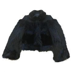 Pre-owned Faux Fur Short Vest (2.380 RON) ❤ liked on Polyvore featuring outerwear, vests, black, faux fur waistcoat, short vest, marc jacobs vest, fake fur vest and vest waistcoat