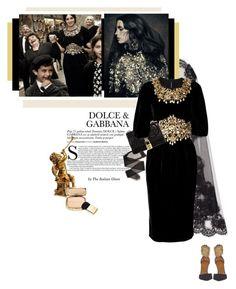 """Dolce &Gabbana"" by theitalianglam ❤ liked on Polyvore featuring moda, Dolce&Gabbana, Aquazzura, velvet, dolcegabbana, bytheitalianglam y theitalianglamfashionlab"