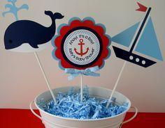 3 Nautical Baby Shower Centerpiece Sticks por sweetheartpartyshop