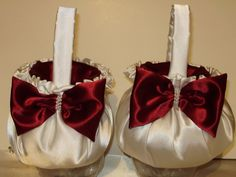 2 Custom Flower Girl Baskets   YOUR Colors  #Unbranded