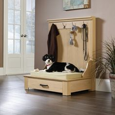 Lula Entryway Dog Bed - Lula Entryway Dog Bed Lend a cozy retreat with this essential organizing bed, showcasing a lower drawer for stowing mouth-watering treats or cleaning supplies. Diy Dog Bed, Wood Dog Bed, Diy Bed, Dog Bed Frame, Pallet Dog Beds, Dog Furniture, Furniture Stores, Luxury Furniture, Furniture Removal