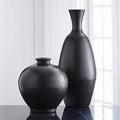 Trumpet Black Ceramic Vases