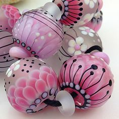 PIKALDA Handmade Lampwork 9 10 Glass Bead Sweet Pink Blossom Flower Elysium SRA | eBay