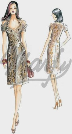 Our Patterns :: Mod. Dress Illustration, Fashion Illustration Sketches, Fashion Design Sketches, Dress Sewing Patterns, Clothing Patterns, Pattern Dress, Vestido Smart Casual, Shirt Patterns For Women, Edwardian Dress