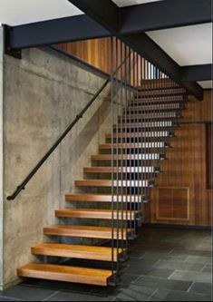 Modern Staircase Design Ideas - Search inspiring photos of modern staircases. With footsteps and rails crafted from wood metal concrete stone and glass these innovative staircase layouts . Stairs Architecture, Architecture Design, Steel Stairs, Wood Stairs, Basement Stairs, Timber Staircase, Wooden Staircases, Painted Stairs, Escalier Design