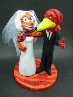 Custom made to order Cardinal and Tigers College mascot wedding cake toppers. $235 www.magicmud.com 1 800 231 9814 magicmud@magicmud... blog.magicmud.com twitter.com/... $235 #mascot #collegemascot #hokie #ms.wuf #gators #virginiatech #football mascot #wedding #toppers #custom #Groom #bride #weddingcaketoppers #caketoppers www.facebook.com/... www.tumblr.com/... instagram.com/... magicmud.com/Wedding photos.htm