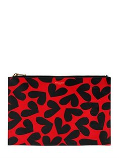 SAINT LAURENT - HEART PRINTED LEATHER POUCH - LUISAVIAROMA - LUXURY SHOPPING WORLDWIDE SHIPPING