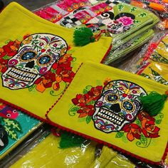 Dia De los Muertos Embroidery Coin ipad Cosmetic bags avail at Barrio Antiguo 725 Yale St #HoustonTexas 77007