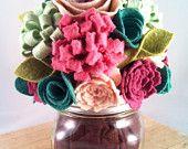 Felt Flower Bouquet in Mason Jar- Floral Arrangement- Navy Gold- Beach- Nautical- Wedding -Bridesmaid Gift. $34.00, via Etsy.