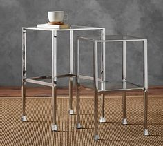 "Tanner Long Console Table - Polished Nickel finish $400  14"" wide"