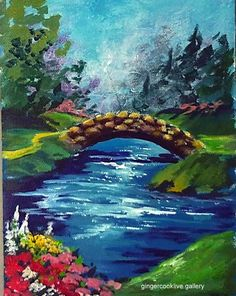 Stone Bridge and Stream   Acrylic Painting Lessons for Beginners ...