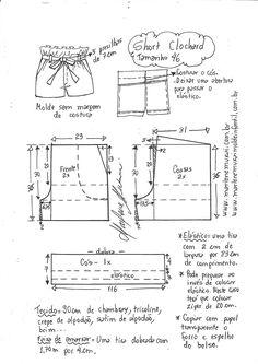 Short moClochard - DIY - molde, corte e costura - Marlene Mukai Dress Sewing Patterns, Sewing Patterns Free, Free Sewing, Sewing Tutorials, Clothing Patterns, Sewing Projects, Skirt Patterns, Dress Tutorials, Sewing Diy