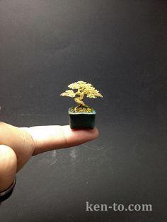 Mini gold wire bonsai sculpture by Ken To by KenToArt on deviantART