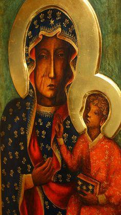 Matka Boska Częstochowska - kopia ikony - Pracownia Temper Tempera, Our Lady, Ikon, Mona Lisa, Angel, Artwork, Domingo, Kunst, Pictures