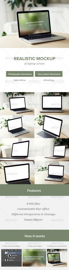 Realistic Laptop Screen Mockup - 8 PSD files Download here: https://graphicriver.net/item/realistic-laptop-screen-mockup-8-psd-files/7501210?ref=KlitVogli