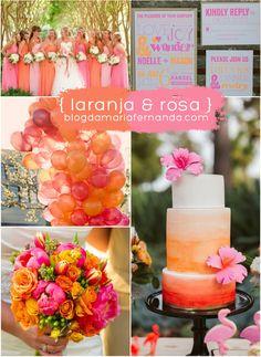 Decoração de Casamento : Paleta de Cores Laranja e Rosa | http://blogdamariafernanda.com/decoracao-de-casamento-paleta-de-cores-laranja-e-rosa
