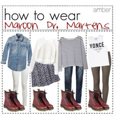 how to wear maroon dr. martens! by tip-girls-of-the-world-love on Polyvore featuring polyvore, fashion, style, Scotch & Soda, Wood Wood, Rebecca Taylor, Dream Monstar, rag & bone, Neon Rose and American Eagle Outfitters