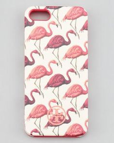This is so fun!   Tory Burch flamingo print soft iPhone case.