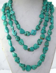 Fashion 3strand turquoise nugget stone beads necklace knotted | FanPhobia - Celebrities Database