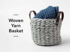 Woven yarn baskets are stylish storage solutions and so simple to make! In this short project tutorial, designer Anne Weil walks you through weaving a DIY ya. Knit Basket, Basket Weaving, Woven Baskets, Traditional Baskets, Craft Stick Crafts, Craft Ideas, Craft Projects, Diy Crafts, Project Ideas