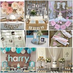 Ideas Para Bautizo Ideas Para Fiestas, First Communion, Baby Shower Favors, Christening, Diy And Crafts, Baby Boy, Baptisms, Table Decorations, Celebrations
