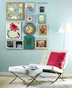 pictures on wall and barcelona chair