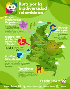 Ruta de la biodiversidad colombiana, Mucho más sobre nuestra hermosa Colombia en www.solerplanet.com Spanish Teaching Resources, Teaching Themes, World Languages, English Lessons, Conservation, Environment, Infographics, Google, Maps