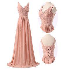 2014 Long Wedding Bridesmaid Ball Gown Dress Chiffon Formal Evening Prom Dresses | eBay