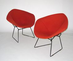 Knoll Bertoia Diamond Chair With Common Ground Fabric Full Cover In Flash  Color And Black Powder