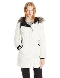 Bernardo Womens Parka with Faux Fur Trim Hood Cream Large * Continue to the product at the image link.
