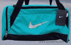 Customized XS Nike duffle bag with Swarovski crystals Nike Duffle Bag, Duffel Bag, Backpack Bags, Puppy Backpack, Hiking Backpack, Gymnastics Bags, Nike Inspiration, Nike Workout, Workout Gear