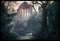 Path to the Gothic Choir, Raphael Lacoste on ArtStation at https://www.artstation.com/artwork/path-to-the-gothic-choir