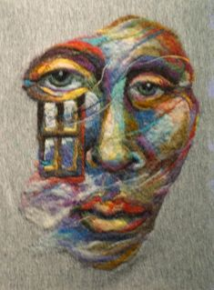 """Look at these breathtaking wool paintings by high school art teacher Kathryn Parenti! This piece is named """"Visitors"""" and was needle felted onto a wet felted pre-felt, then sewn onto a piece of fib..."""