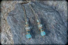 boho earrings glass earrings long earrings bronze by entre2et7