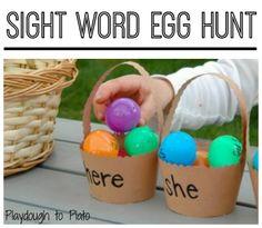 Sight Word Egg Hunt - Playdough To Plato Teaching Sight Words, Sight Word Games, Sight Word Activities, Easter Activities, Spring Activities, Literacy Activities, Playdough To Plato, Holidays With Kids, Egg Hunt
