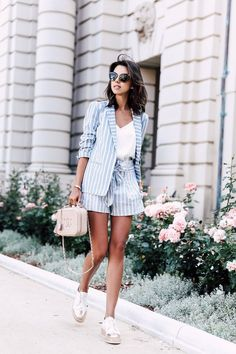 Perfect summer suit - blue and white striped blazer + paperbag waist shorts