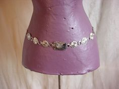 Fiesta Metal Medallion Belt Silver tone 24 to 40 inches Arrow Motif sz Small #Fiesta
